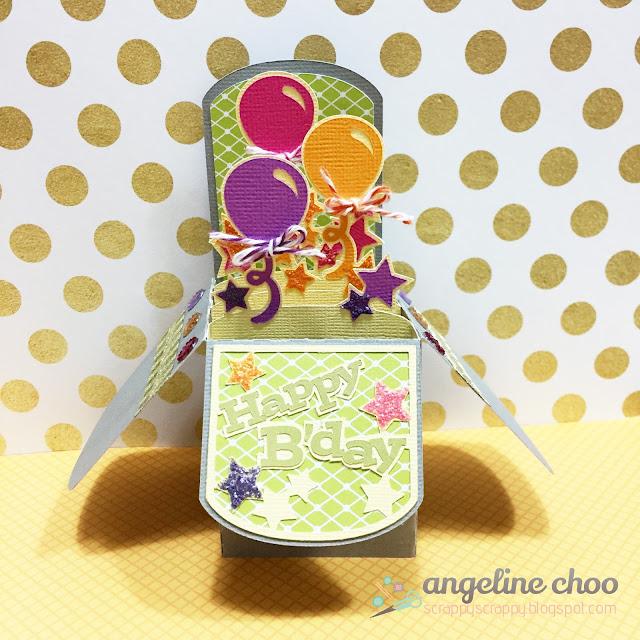 ScrappyScrappy: Birthday Balloon Box Card #scrappyscrappy #svgattic #trendytwine #svg #cutfile #diecut #balloon #twine #silhouettecameo #card #boxcard #stickles #glitter #birthday