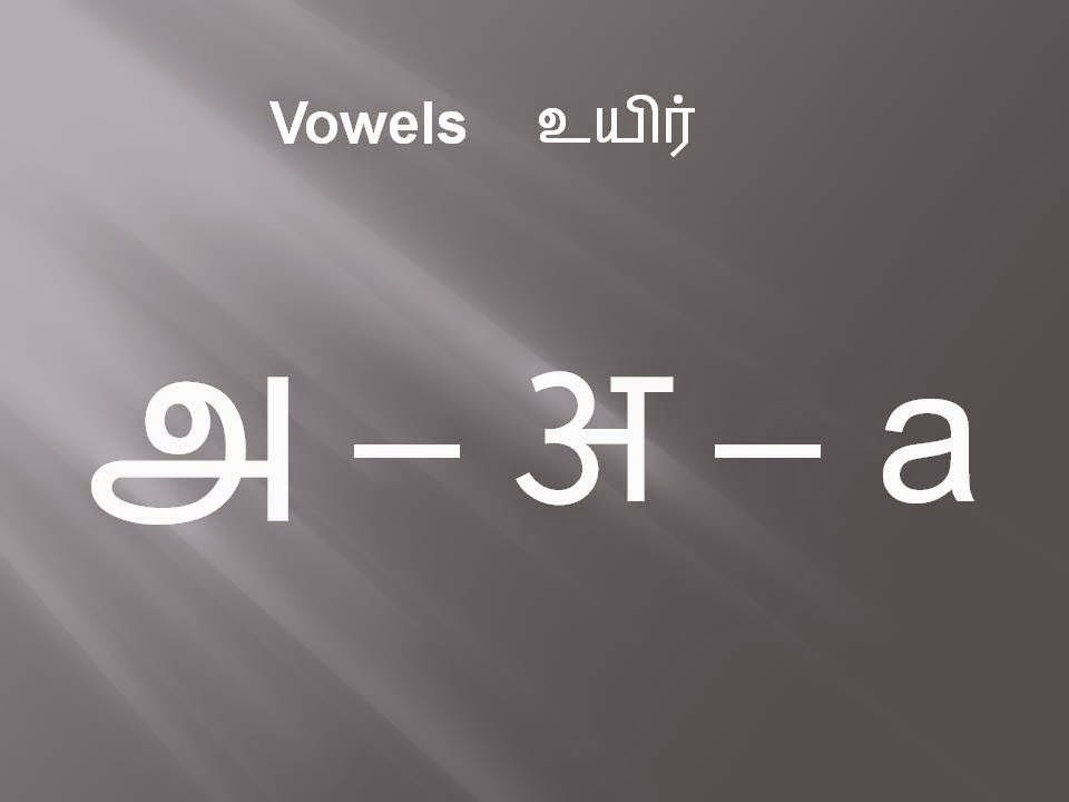 Learn Tamil Language in Hindi: Tamil Vowels in Hindi and English