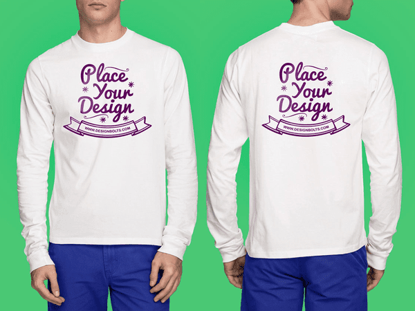 place your design on the white full sleeves t shirt mockup for men
