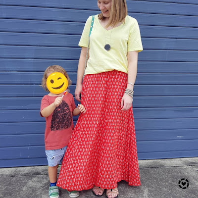 awayfromblue Instagram | mum style yellow tee with red boho print maxi skirt outfit photo with toddler