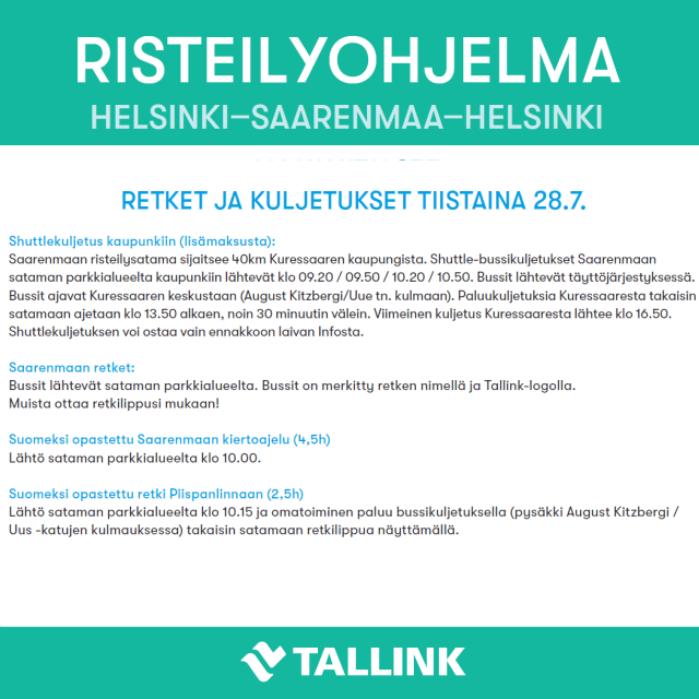 Tallink Victoria risteilyohjelma