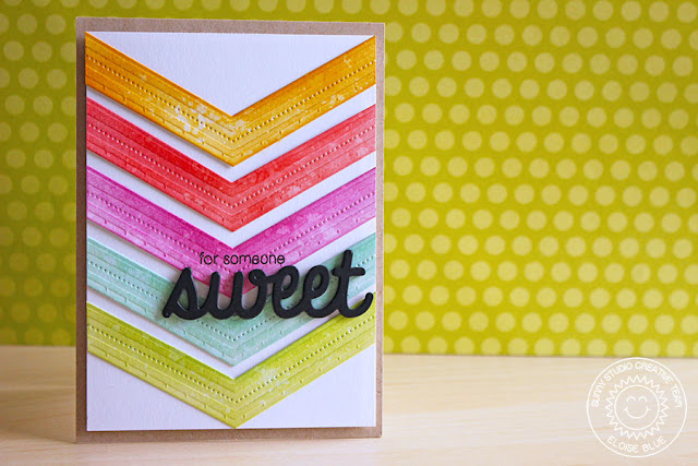 Sunny Studio Stamps: Fishtail Banner II Rainbow Chevron Sweet Card by Eloise Blue.