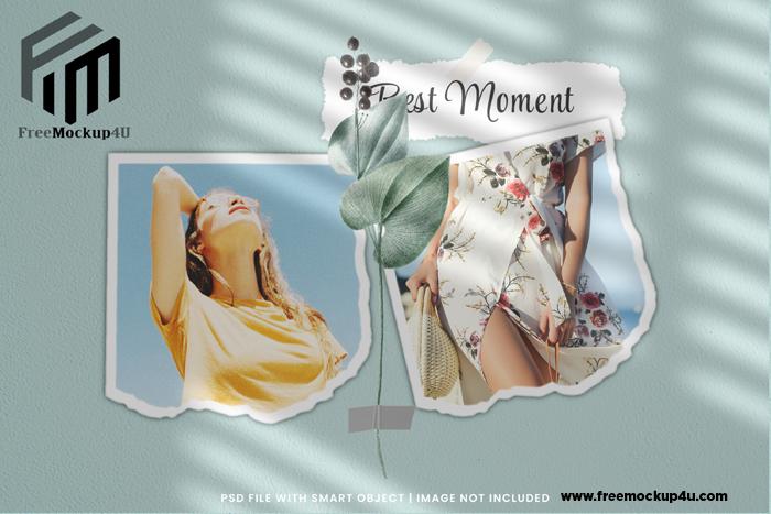 Wall Moodboard Mockup Torn Photo Frame Card Collage Premium PSD