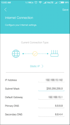 Configure internet settings in TP link tether