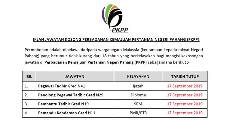 Jawatan Kosong Di Perbadanan Kemajuan Pertanian Negeri Pahang Pkpp Ejawatankini Com