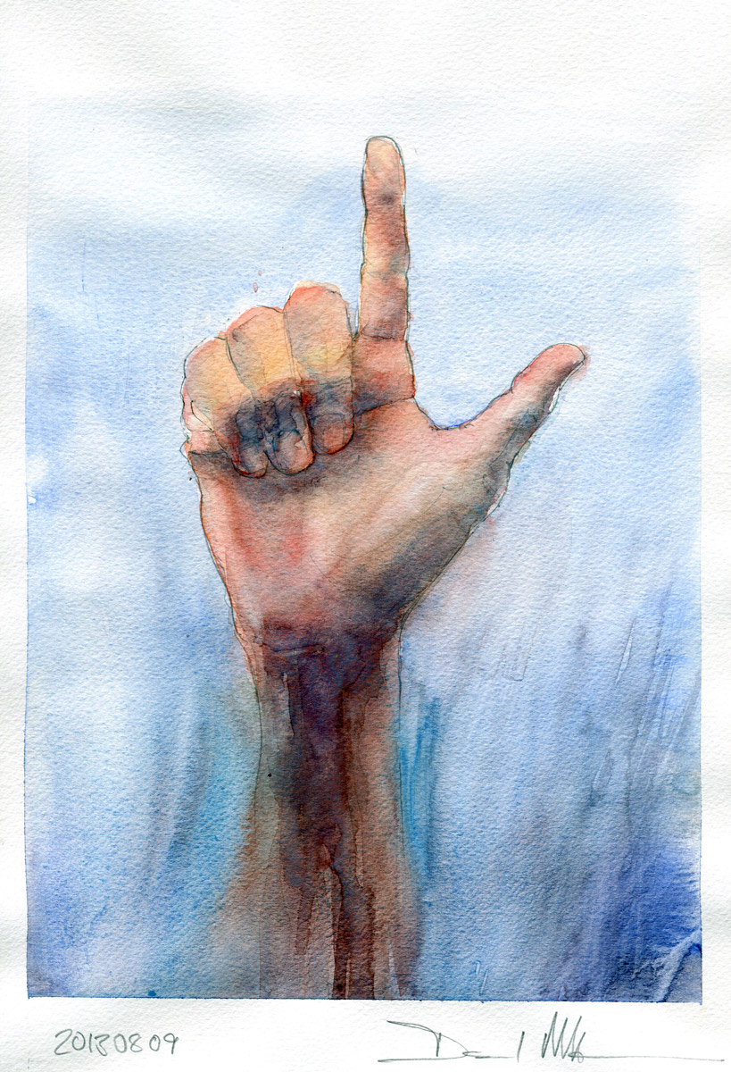 The Naked Hand watercolour by David Meldrum