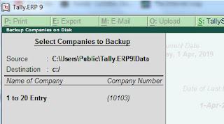 tally backup process
