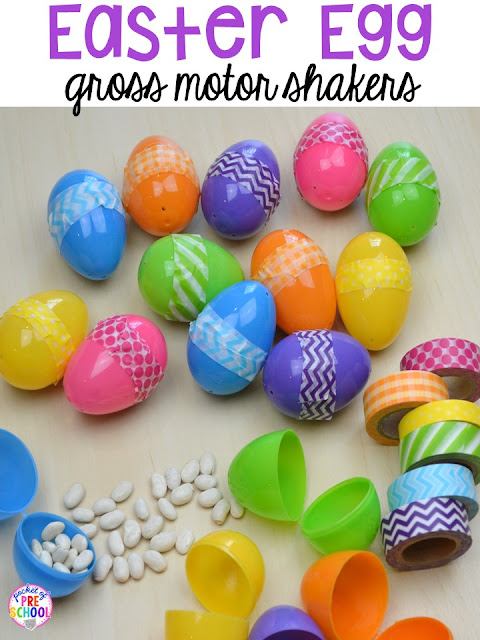 How to make Easter egg shakers for music and gross motor time. Plus peeps 5 senses and taste test FREEBIE. For preschool, pre-k, and kindergarten.