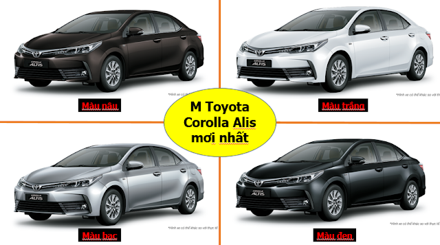 Màu xe Toyota Altis 2018 mới