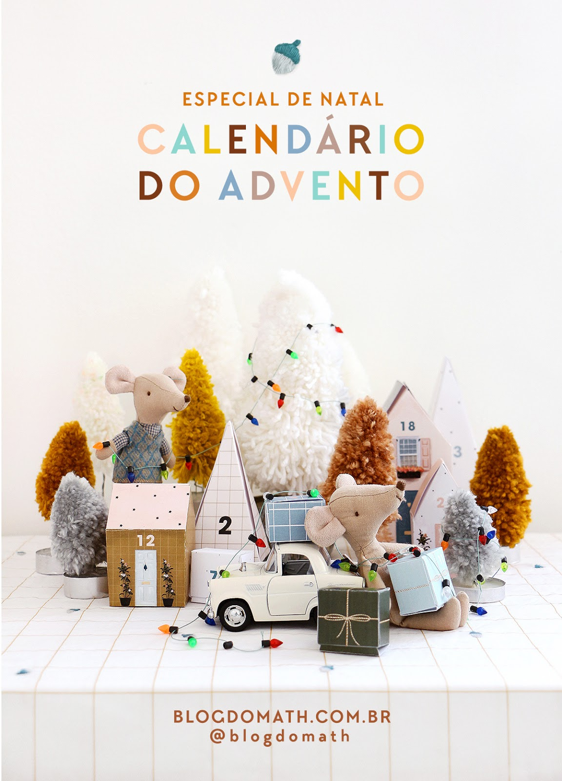decoracao de natal tons terrosos DIY pinheiros de lã pompom faca voce mesmo earty thones brown olive christmas villagem paper decor blog do math