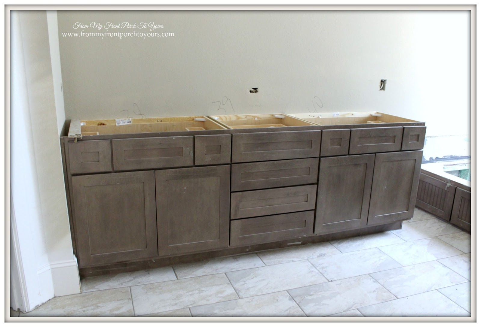 suburban farmhouse master bathroom driftwood shaker cabinets from my - Shaker Bathroom 2016