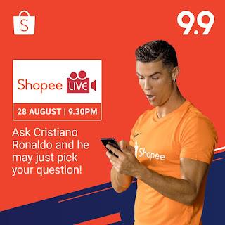 Cristiano Ronaldo on Exclusive Shopee Live Stream On 28 August