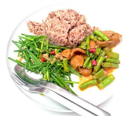 Arroz integral y verduras