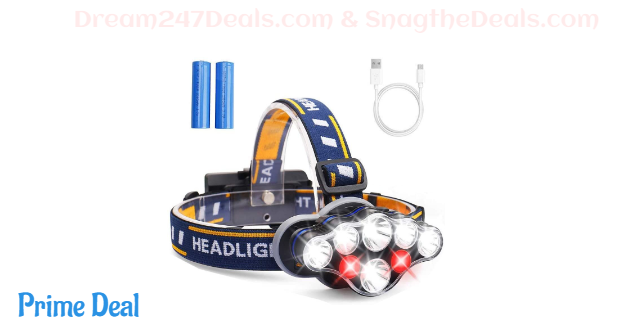 50%OFF Headlamp, Headlight 13000 Lumen 8 LED 8 Modes 18650 USB Rechargeable Waterproof Flashlight with Red Light Head Lamp Camping Gear for Adults Men Camping Hunting Running Hiking Fishing Reading