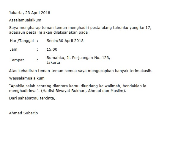 Contoh Surat Undangan Ulang Tahun (via: suratresmi.id)