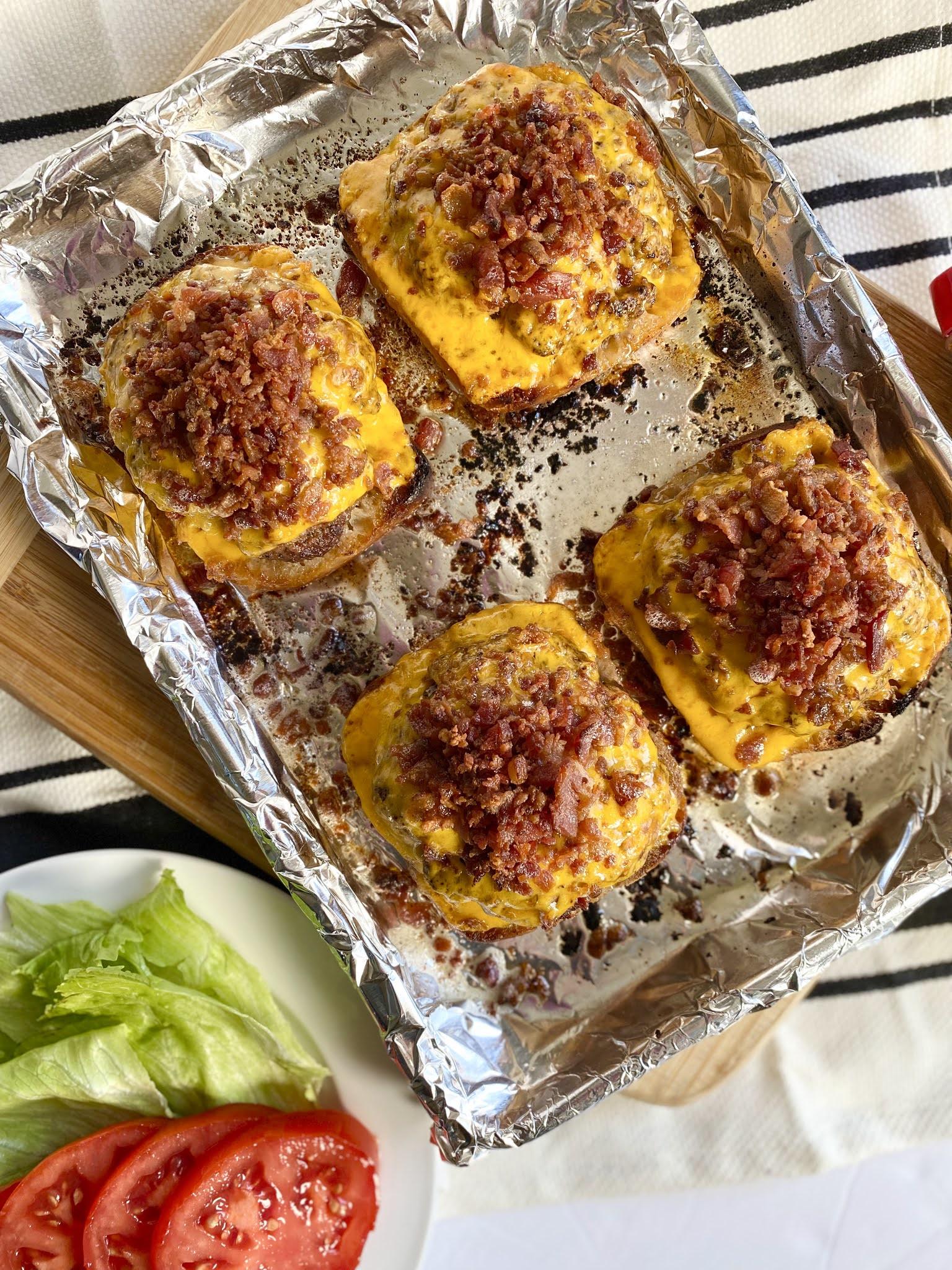 Sheet Pan BBQ Bacon Cheeseburgers