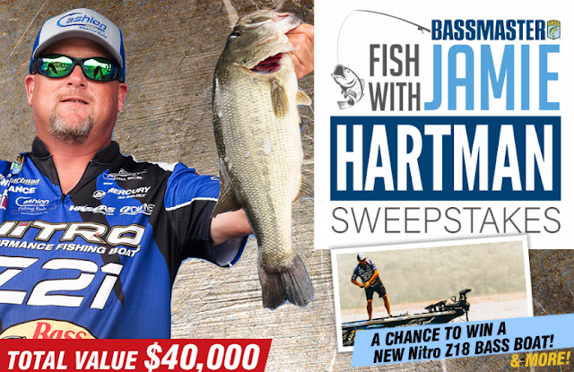 Bassmaster wants you to enter for a chance to fish with Bassmaster Elite Series professional, Jamie Hartman PLUS you'll win a new fishing boat and more!
