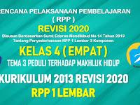 RPP 1 Lembar Kelas 4 Tema 3 SD/MI Kurikulum 2013 Revisi 2020 Tahun Pelajaran 2020 - 2021