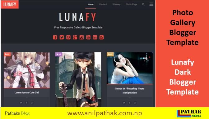 Photo Gallery Blogger Template - Lunafy Dark Blogger Template