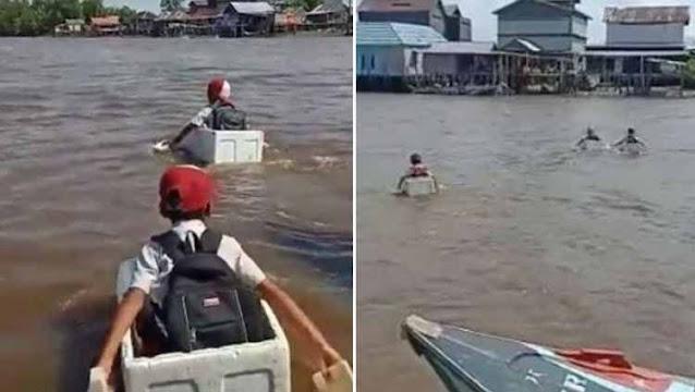 Viral Anak Sekolah Seberangi Sungai Pakai Styrofoam, Said Didu: Hasil Pembangunan Infrastruktur