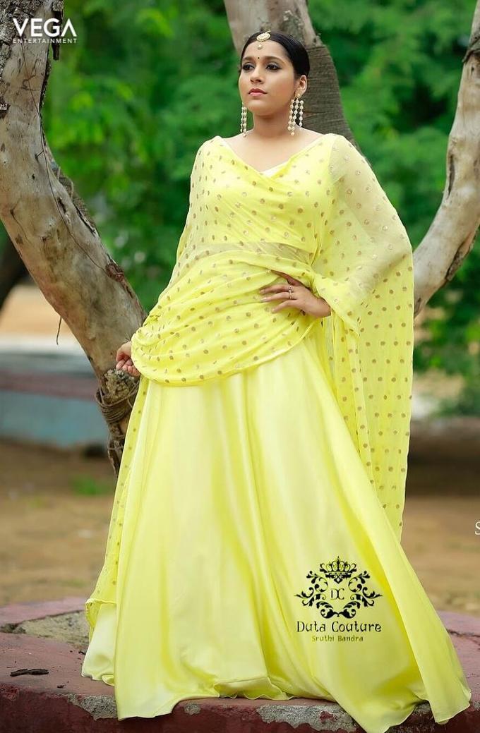Rashmi Gautam in Yellow Deep Neck Transparent Ethnic Wear