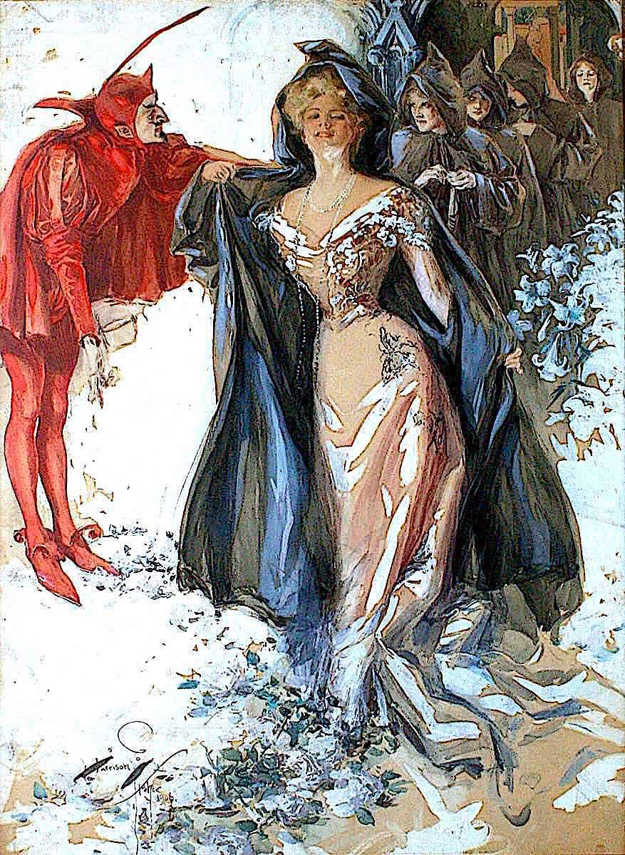 a Harrison Fisher illustration of a devil beckoning women