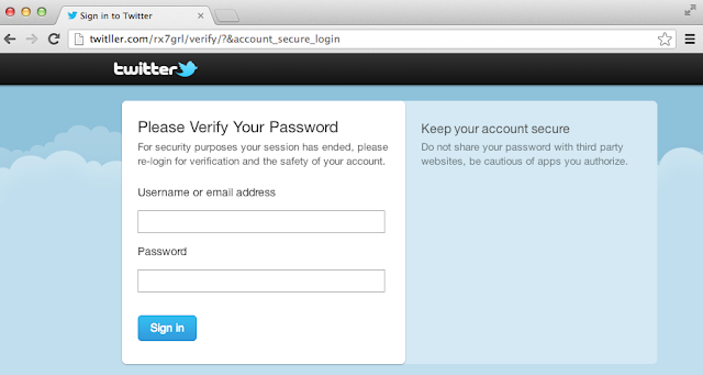 Beware of Fraudulent Sites, phishing for Twitter accounts