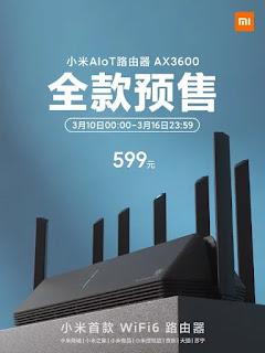 Xiaomi AIoT Router AX3600 siap untuk pra-penjualan di Cina seharga 599 yuan (Rp 1.2jt)