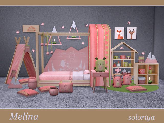 Melina Мелина для The Sims 4 Милый уютный уголок для малышей. Включает в себя 19 объектов: - кровать для малышей - занавеска для кровати - палатка - 2 декоративные горы - 4 декоративные напольные подушки - 2 декоративные сумки - 2 хранилища - стол в прихожей - стена деко с горы - функциональная полка - рыба деко -- фотографий - настенный светильник звезда Автор: soloriya