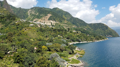 mountainous coastline of lake atitlan