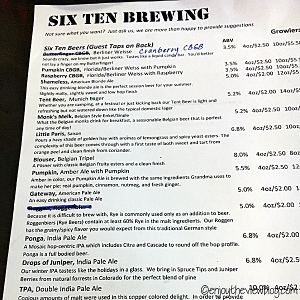 Six Ten Brewing beer list!