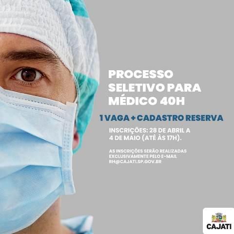 Cajati abre processo seletivo para contratação emergencial de Médico