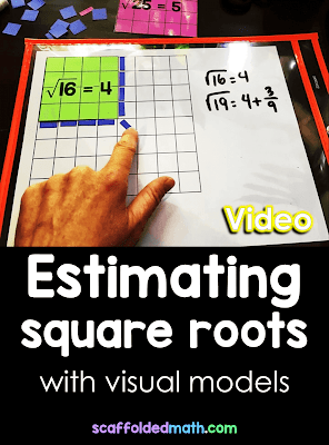 How do you estimate square roots without a calculator? Do you use a number line, visuals, manipulatives or something else? In this post is a video for estimating square roots using visual models. There is also a free set of printables (the ones used in the video) linked in the post.