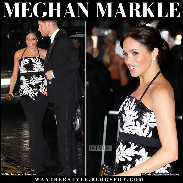 Meghan Markle in black and white sequin safiyaa strapless top and black skirt royal family maternity fashion november 19