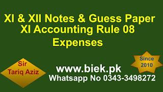 XI Accounting Rule 08 Expenses www.biek.pk