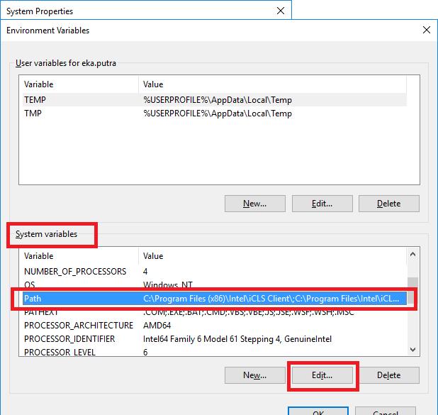 Windows 10 environment variable window