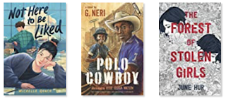 Three book covers. Not Here to Be Liked has a young woman leaning on a desk. Over her shoulder is a young man at a desk who is glancing back at her. Polo Cowboy has a young woman with a polo mallet and a young man wearing a cowboy hat. The Forest of Stolen Girls as the title in red and illustration in black and white. It has many leaves and two young women facing away from each other and mostly hidden by the leaves.