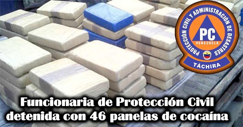 Funcionaria de Protección Civil detenida con 46 panelas de cocaína