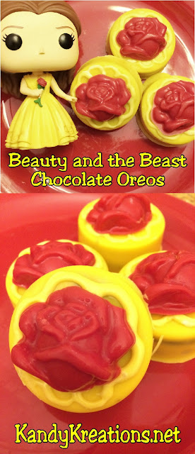 Beauty and the Beast chocolate covered Oreo cookies.  What a fun idea for a Beauty and the Beast birthday party or for a treat after watching the new movie! I think the girls would LOVE these yummy chocolate cookies to celebrate with.