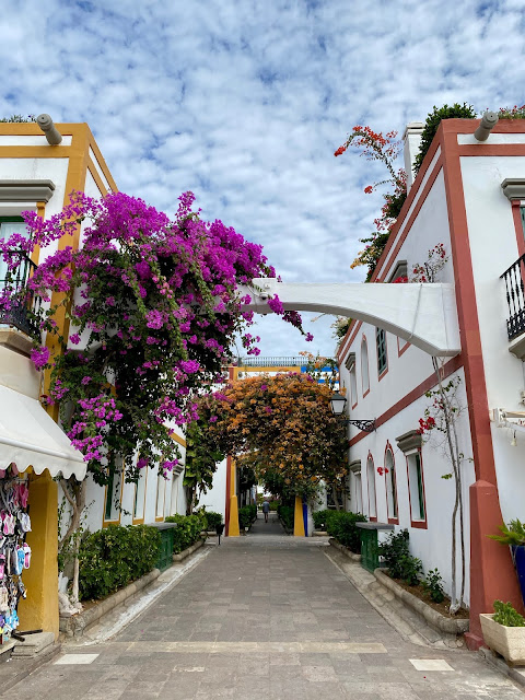 White buildings covered in colourful flowers in Puerto Mogan, Gran Canaria, Spain