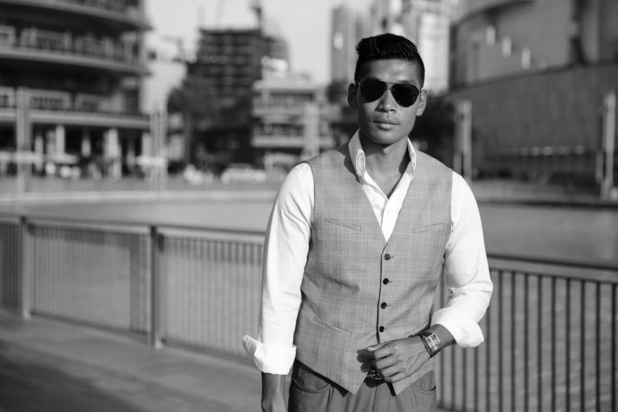 Leo Chan, Levitate Style, menswear, Dubai, Plaid Vest