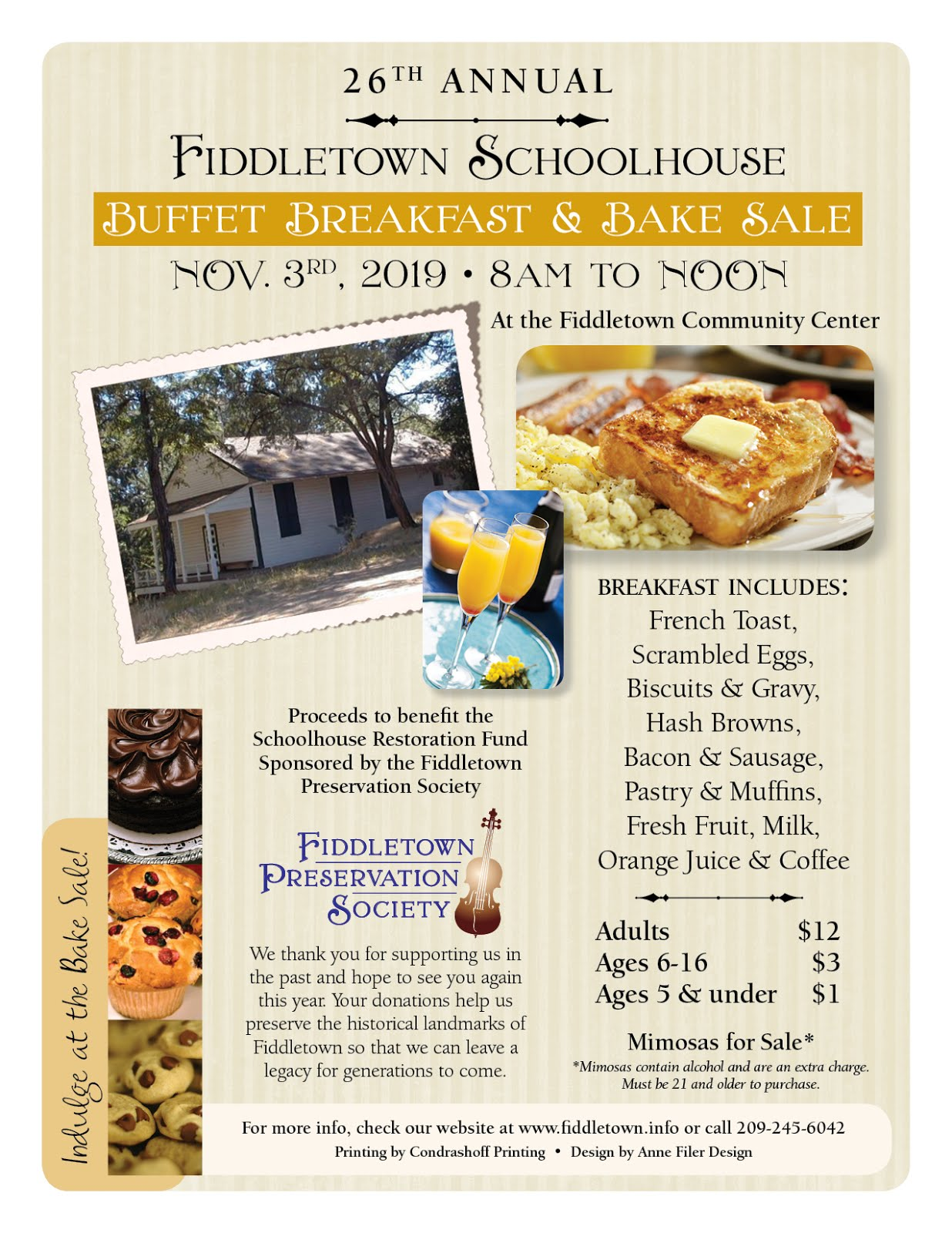 Fiddletown Schoolhouse Buffet Breakfast & Bake Sale - Sun Nov 3
