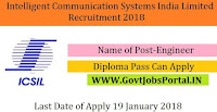 Intelligent Communication Systems India Limited Recruitment 2018 –Engineer