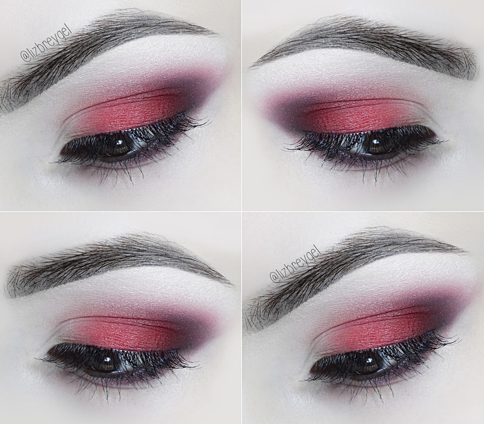 liz breygel Makeup step by step Tutorial January Birthstone red smoky eye gothic goth eye