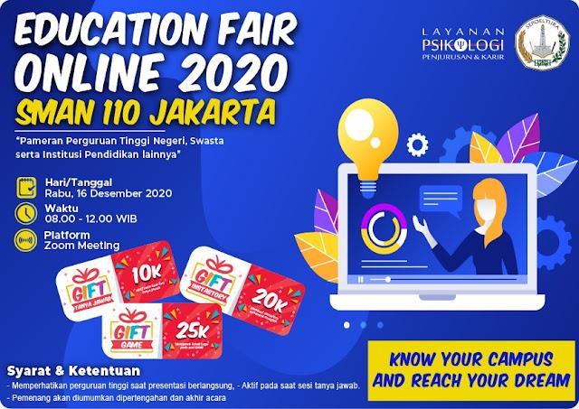 Edufair Daring di SMAN 110 Jakarta tahun 2020