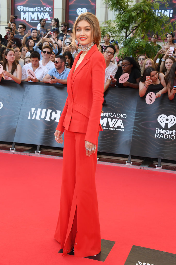 Gigi Hadid wears a plunging red suit to the MuchMusic Video Awards 2016