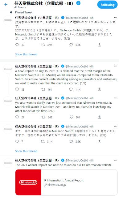 Nintendo Co Ltd investor relationships Twitter Switch OLED model profit margin Bloomberg