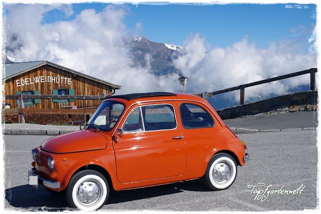 Fiat 500 Baujahr 1974 vor Edelweißhütte am Großglockner
