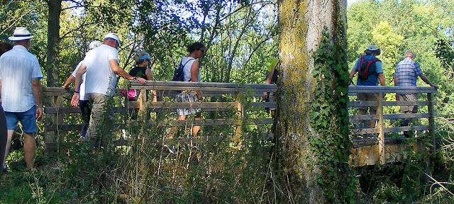 Walking group crossing a footbridge. Indre et Loire. France. Photo by Loire Valley Time Travel.
