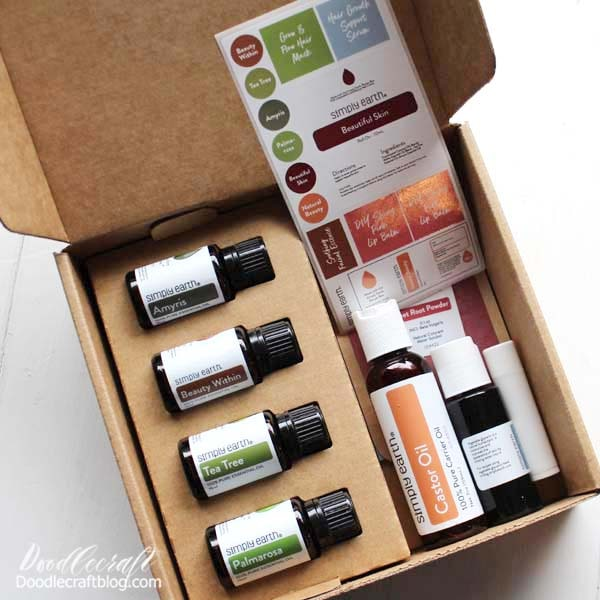 The Monthly Subscription box comes with 4 essential oils. These are easily worth the price the $39 box alone! It also has castor oil, lip balm tubes, vegetable glycerin and stickers to label all the products you make!